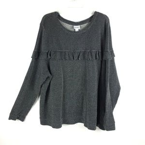 Ava & Viv Womens Textured Pull Over Ruffle Sweater
